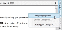 Right-click on the category tab and choose Category Properties...